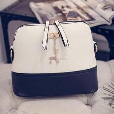 Women PU Leather Vintage Messenger Bag Shoulder Crossbody Bag Shell Tote Bag