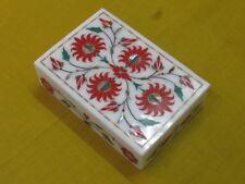 "6"" x 4"" x 1.5"" Marble Box Semi Precious Stone Cranelian Pietra Dura For Gift"