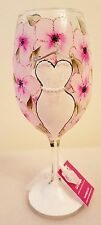 Bride Wedding Dress On Hanger Pink Flowers With Pearls & Glitter Wine Bar Glass
