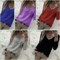 Loose T-Shirt Tops Pullover Casual V Neck Long Sleeve Womens Jumper Solid