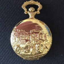 POCKET WATCH NO.11 GOLD COLOURED HUNTER,FARM TRACTOR, COLLECTABLE