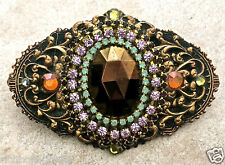 """Copper Crystal Oval Pin Bronze Vintage Inspired findings Handmade NEW 3"""" x 2"""""""