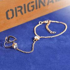 Fashion Women Elegant Chunky Crystal Gold Plated Ring Bracelet Punk Sexy Jewelry