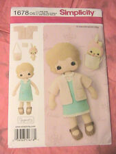 "13"" FELT ART DOLL & BUNNY BAG cloth art doll pattern SIMPLICITY 1678~Gingermelon"