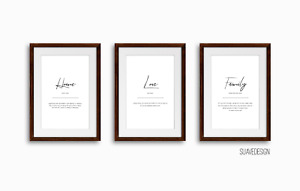 Home, Family, Love Definitions Set of 3x Quote Prints Wall Art Minimalist Poster