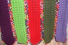 Handmade Afghan Blanket 40 x 80 Crochet Throw Purple Green Red hippie gypsy boho