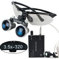 Dental Surgical Medical Binocular Loupes 3.5X 320mm Led Head Light Lamp Kit Set