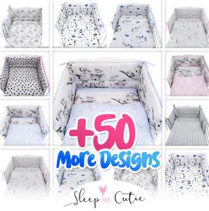 5 or 3  BABY BEDDING SET INC DUVET+BUMPER+PILLOW+COVERS-COT120X60 COT BED 140X70