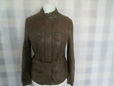 Ladies NEXT Mid Brown REAL LEATHER Belted Jacket Very Soft Size 12