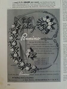 1954 Pennino original tulip fantasy necklace earrings pin vintage jewelry ad