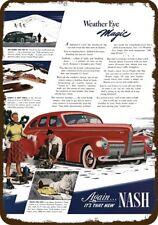 1940 NASH Red Car w WEATHER EYE MAGIC Vintage Look REPLICA METAL SIGN ICE SKATE