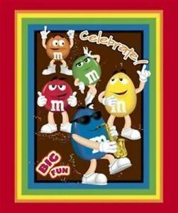 M & M Candy Character FunFetti Rainbow Big Fun on Dark Brown background fabric