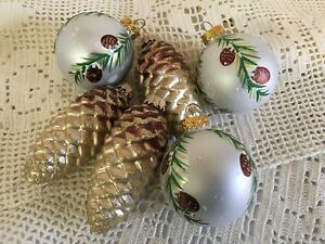Christmas Glass Glitter Pinecone Ornament G & D Stenciled Plastic Woodland Lot