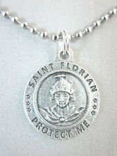 "St Florian /Firefighter Medal Italy Necklace 24"" Ball Chain Gift Box Prayer Card"