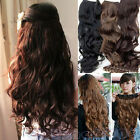 New Fashion Full Head Clip Curly Wavy Women Synthetic Hair Extension 3 Colors