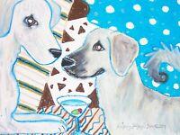 ANATOLIAN SHEPHERD Drinking a Martini Dog Outsider Pop Art 8 x 10 Signed Print