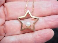 """Vintage 1980's """"S"""" Chain with Star & Faux Pearl Star Pendant/Necklace"""