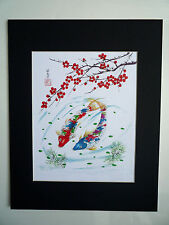 11x14 2 Koi fish with cherry blossom good luck Asian - Chinese Brush Painting