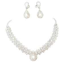 Jewelry Set Bridal Wedding White Great Drop Flash Diamond Necklace Earrings PK
