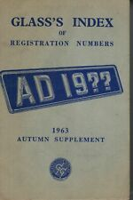Glass's Index Of Registration Numbers 1963 Autumn Supplement 3550F