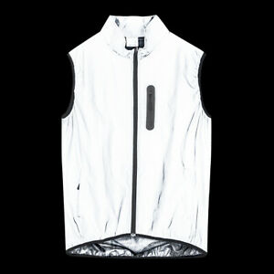 Men Cycling Jacket Bike Vest Windproof Reflective Silver - Night Glow MTB Gilet