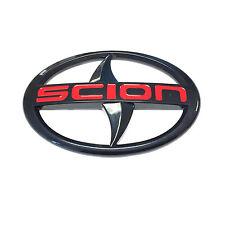 Scion Large Emblem Red letter Black Badge Sticker front JDM black tC xA xB New