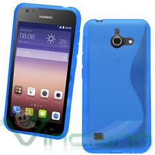 Custodia WAVE BLU per Huawei Ascend Y550 cover semi trasparente case flessibile