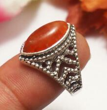 "Carnelian Gemstone Ring 925 Silver Plated UK Size O, US 7.5"" U224-A110"