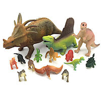 Plastic Dinosaur Toys 14 Pieces Kids Toy Pretend Playset Mixed Lot Multicolor 1