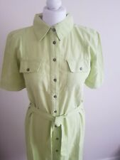 Lily and me size 10 linen shirt dress lime green midi brand new
