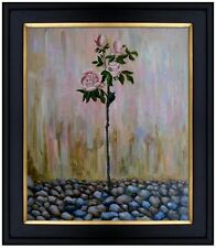 Framed, Still Life with Mauve Rose Bush, Hand Painted Oil Painting 20x24in