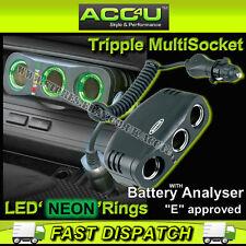 Ring RMS3 Car 3 Way Triple Cigarette Lighter Multi Socket Power Adapter+Analyser