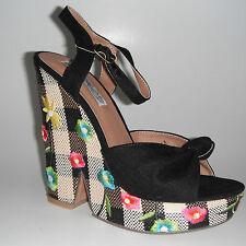 Naughty Monkey Black Floral Wedge Platfom Sandal Size 9.5