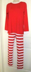 Red & White Striped Slim-Fit Christmas Pajamas, Mom, Jr. M, Poly/Cotton, NWOT