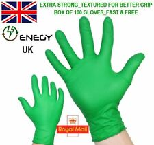 NITRILE DISPOSABLE GLOVES_GREEN_POWDER FREE_ EXTRA STRONG_SIZE L_Fits XL Also