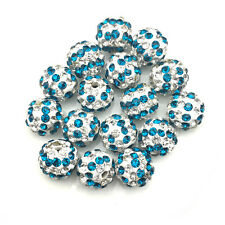 10Pcs Blue Stripe Micro Pave Crystal Disco Ball Shamballa Beads Bracelet Spacer