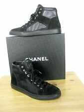 NIB Chanel  Black Mesh Suede High Top Lace Up Sneaker Shoes Boots sz 40 IT