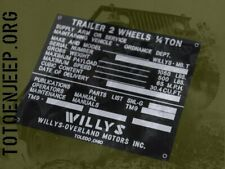 PLAQUETTE DATA PLATE REMORQUE WILLYS LATE JEEP WILLYS GPW US WW2