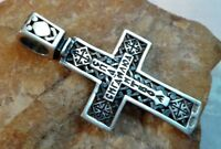 "VINTAGE STERLING SILVER 925 ORTHODOX HAND-CARVED CRUCIFIX ""ARROW CROSS"" SYMBOLS"