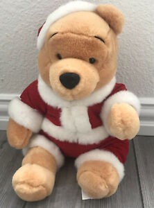 "Vintage Winnie The Pooh Walt Disney Wind Up Musical box Plush Christmas Toy 10"""