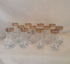 """SET OF 12 - GOLD Encrusted Crystal Glass Stemless Cordials Juice Glasses  - 3.8"""""""