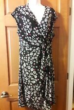 Anne Klein Black/Degas Grey Print Side Twist Dress Size L