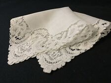 #6415🌟Vintage Early Pt de Gaze Intricate Fancy Lace Wedding Handkerchief Heirl