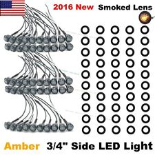 "50X Mini 12V Amber 3/4"" Smoked Lens Side LED Marker Trailer Bullet Light US Ship"
