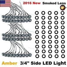 """50X Mini 12V Amber 3/4"""" Smoked Lens Side LED Marker Trailer Bullet Light US Ship"""