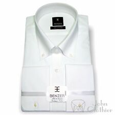 Button down collar White Cotton Dress shirt High Quality Formal Work Wear Gents