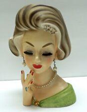"""Vintage 7"""" LADY HEAD VASE w/ GREEN DRESS ORIGINAL FAUX PEARL NECKLACE & EARRINGS"""