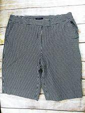 Jones New York Seersucker Shorts Womens 12 Stretch Seersucker Bermuda Gray White