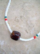"Puka Shell Neckalce 18"" Organic Brown White With Hand Blown Glass Surfer Bead"