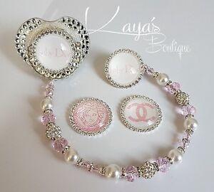Bling *Diamante Button* Shamballa Romany Dummy Clip Girl *Any Name* Pink/white